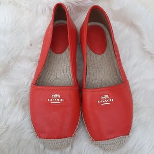 Coach Red Leather Flats Sz 7.5